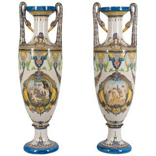 Pair of Tall Italian Faience Vases For Sale