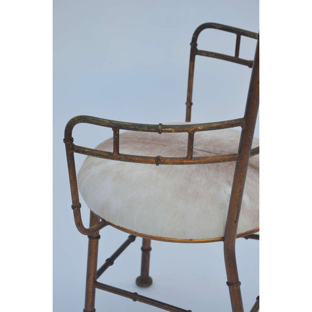 Animal Skin Set of 3 Iron and Calf Hide Armchairs For Sale - Image 7 of 11