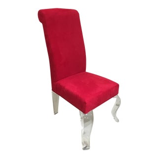1980s Retro Lucite Red Ultrasuede Fabric Chair For Sale