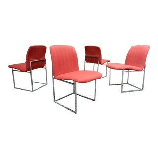 Milo Baughman Design Institute America Red Dining Chairs For Sale