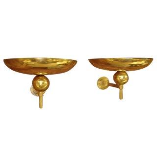 Large Jean Perzel Art Deco Brass Sconces - a Pair For Sale