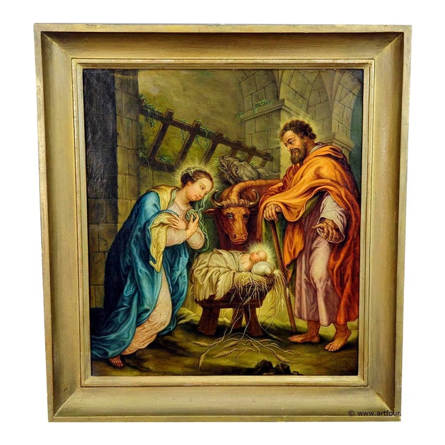 Unknown - Mary And Joseph In The Barn Of Bethlehem For Sale
