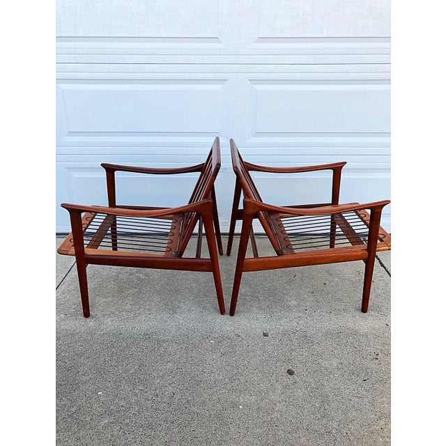 Pair of Mid-Century Modern Easy Chairs in Teak and Wool For Sale - Image 4 of 9