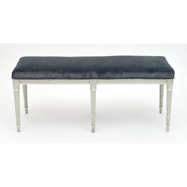French Louis XVI Style Velvet Piano Bench For Sale - Image 9 of 12