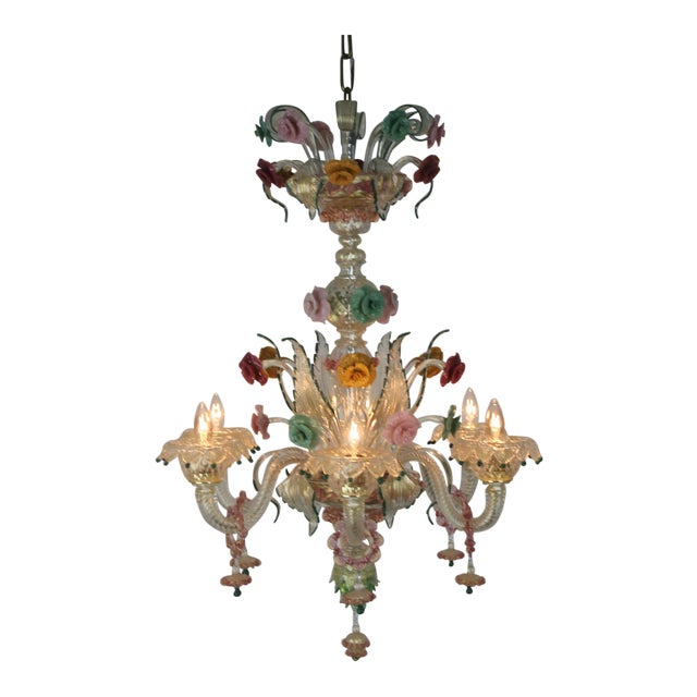 Italian Venetian Glass Chandelier For Sale