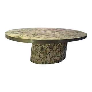 Italian Fractured Green Onyx Speciman Oval Coffee Table For Sale
