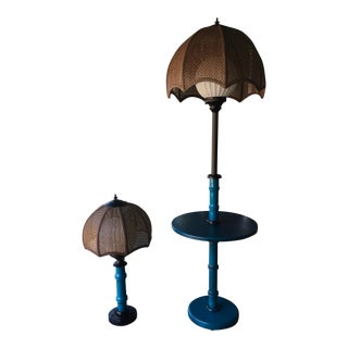 1970s Vintage Faux Bamboo Table / Table Floor Lamp With Milk Glass Diffuser With Cane Weave Shades - a Pair For Sale
