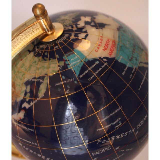 Metal Vintage Blue Lapis World Globe on Brass Stand With Semiprecious Gems For Sale - Image 7 of 10