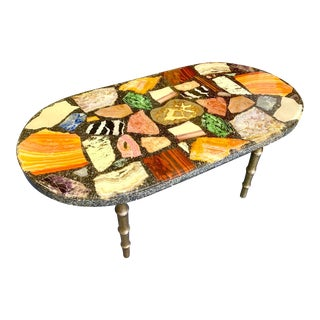 Unique Semi-Precious Stone and Crystal Slab Cocktail Table With Brass Sheath Legs For Sale