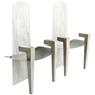 Stainless Steel Chairs, David Smith Style For Sale