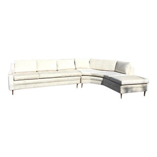 1960's Two Piece Sectional Newly Upholstered in Cream Chenille For Sale