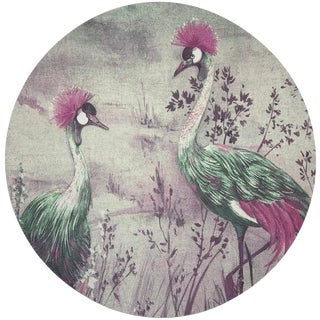 "Nicolette Mayer Crested Crane Canovas 16"" Round Pebble Placemat, Set of 4 For Sale"