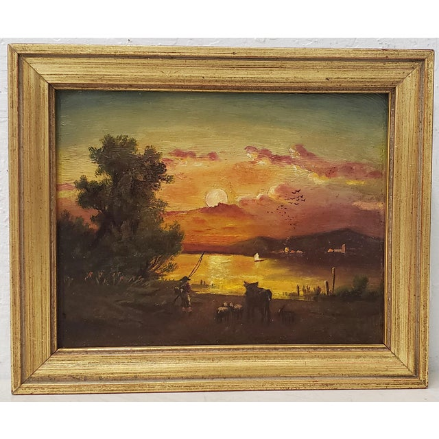 19th Century Luminous Sunset Over Mountain Lake Oil Painting For Sale - Image 10 of 10