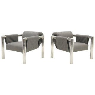 Pair of Lounge Chairs With Arms by John Mascheroni, New Maharam Upholstery For Sale