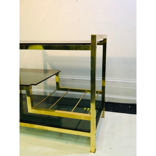Brass 1970s Italian Brass Bar Cart With Smoke Glass Shelves For Sale - Image 8 of 10