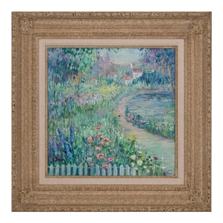 Circa 1988 Impressionist Style Landscape Oil Painting by Irene Borg, Framed For Sale