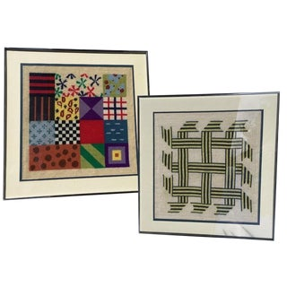 Vintage Mid-Century Modern Geometric Multicolor Needlepoint Art – a Pair For Sale
