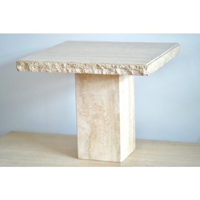 1970s Italian Maurice Villency Travertine Marble Side Table For Sale - Image 6 of 6