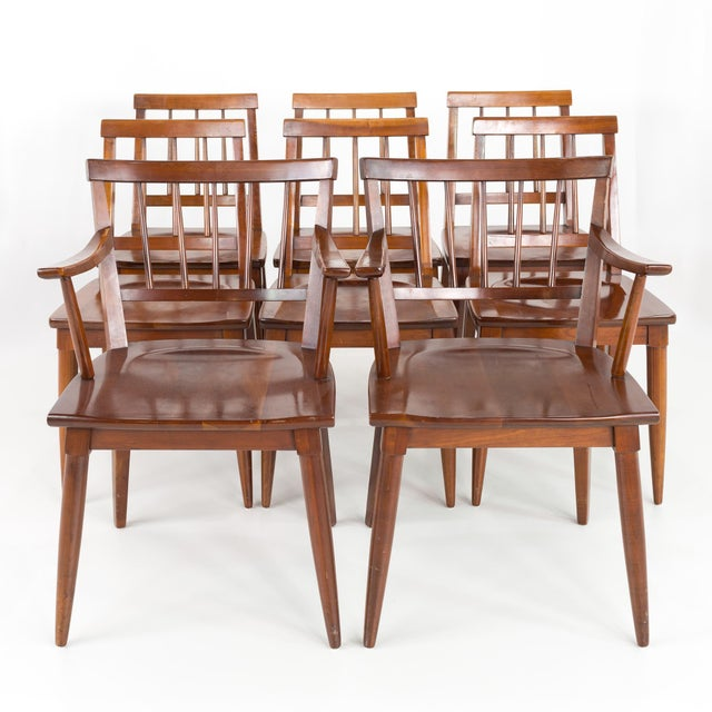 Paul McCobb Style Mid Century Cherry Dining Chairs - Set of 8 Each chair measures 21.5 wide x 21 deep x 31.5 high with a...