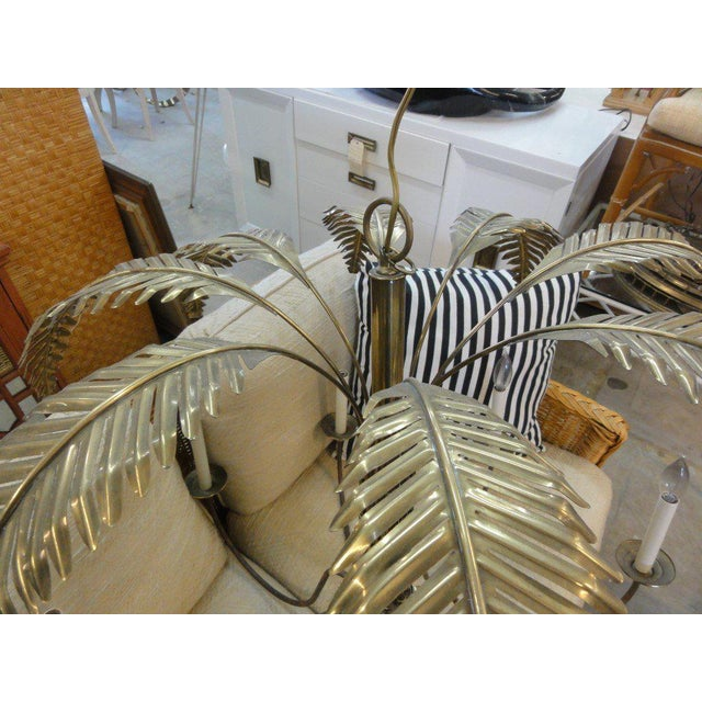 Large Faux Bamboo Brass Palm Chandelier - Image 2 of 11