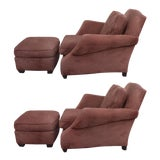 Image of Over-Scale Club Chairs and Ottomans by Donghia - a Pair For Sale
