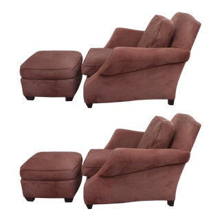 Over-Scale Club Chairs and Ottomans by Donghia - a Pair For Sale