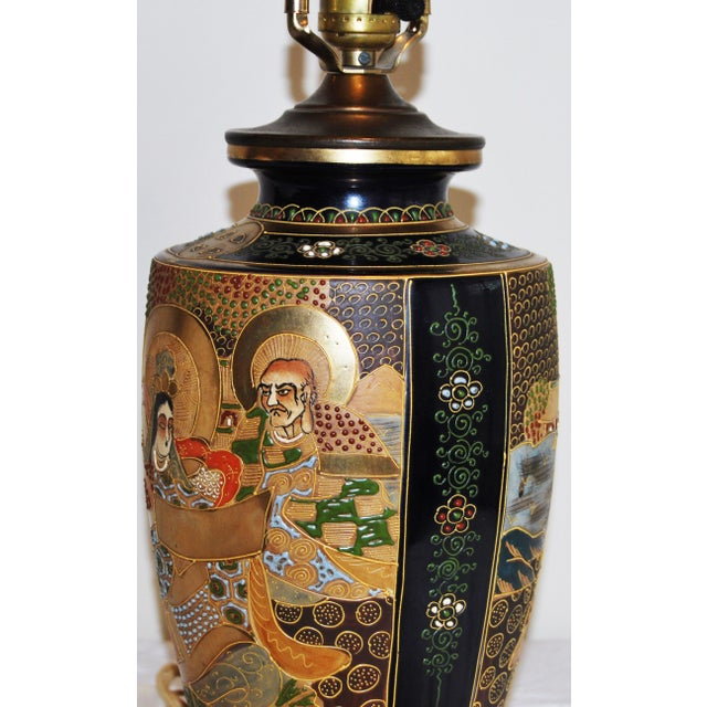 Japanese Satsuma Pottery Vase Table Lamp - Image 7 of 7