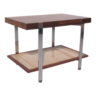 Milo Baughman Walnut, Chrome and Caned Side Table For Sale