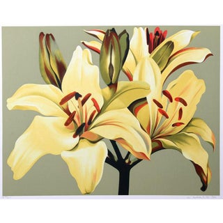 """C. 1980 """"Lilies on Green"""" Serigraph Print by Lowell Blair Nesbitt For Sale"""