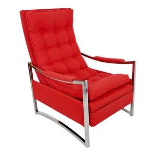 Mid Century Modern Baughman Curved Chrome Red Recliner Chair Robert Allen Wool