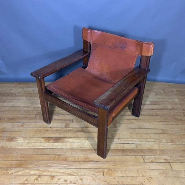 Brown Pair 1970s Saddle Leather Arm Chairs, Mobring Style For Sale - Image 8 of 13