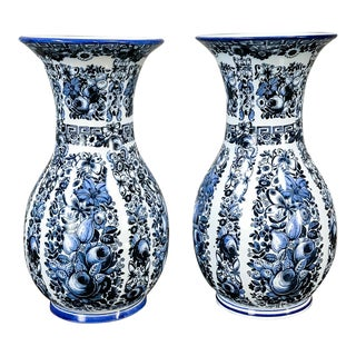 Delft Vases, 19th Century Blue & White - a Pair For Sale