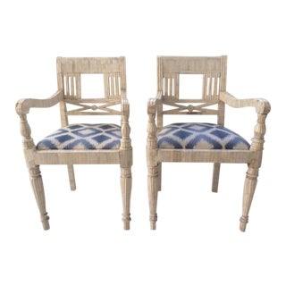 Vintage Tessellated Bone Arm Chairs - a Pair