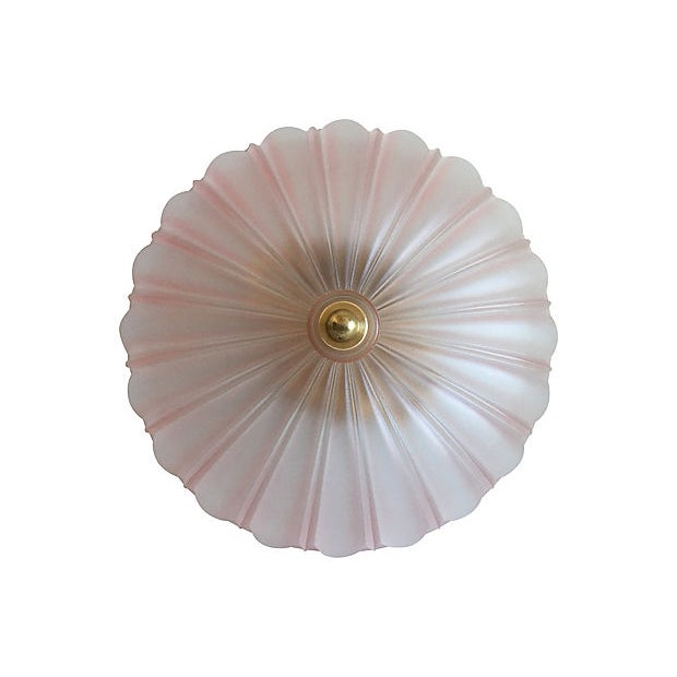 1950s Frosted Glass Flush Light For Sale - Image 4 of 11