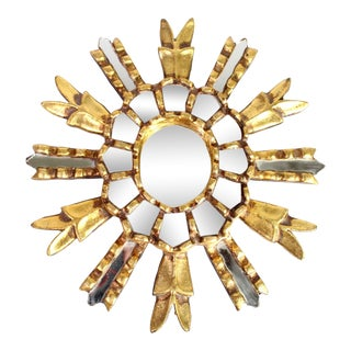 1970's Vintage Hand-Made Small Gilt Wood Peruvian Sun Wall Mirror For Sale