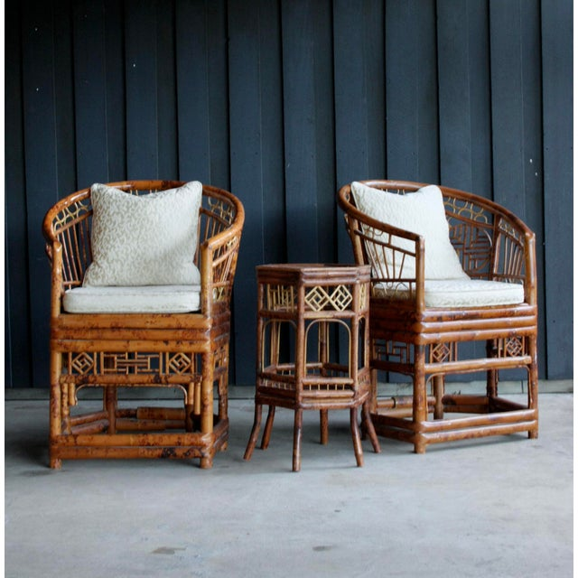 Pair of Brighton Pavillion Bamboo Chairs With Table, Set of 3 For Sale - Image 9 of 13