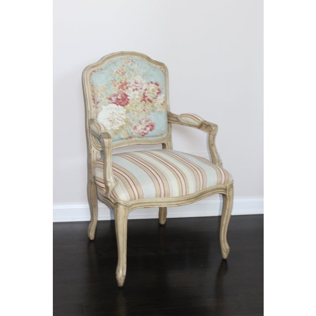 Textile Vintage French Louis XV Floral Bergere Armchair For Sale - Image 7 of 7