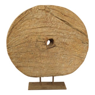 Antique Indian Mounted Wooden Work Wheel For Sale