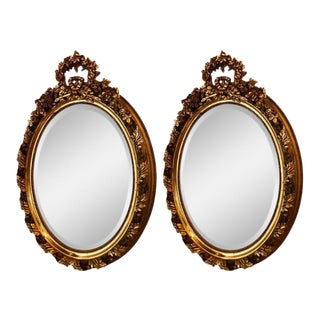 Bevelled Louis XVI Style Carved Wood and Gesso Wall or Console Mirrors - a Pair