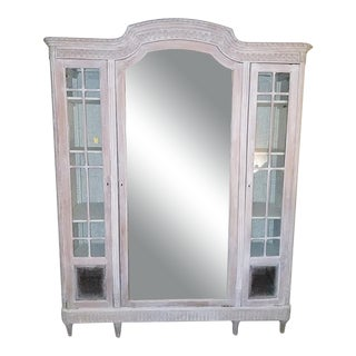 19th Century French Colorwashed 3 Door Armoire For Sale
