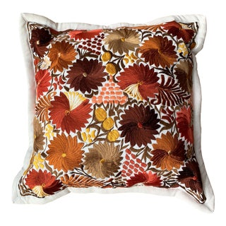 Embroidered Guatemalan Floral Pillow For Sale