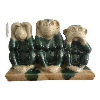 Vintage Majolica Style Three Wise Monkey Statue For Sale