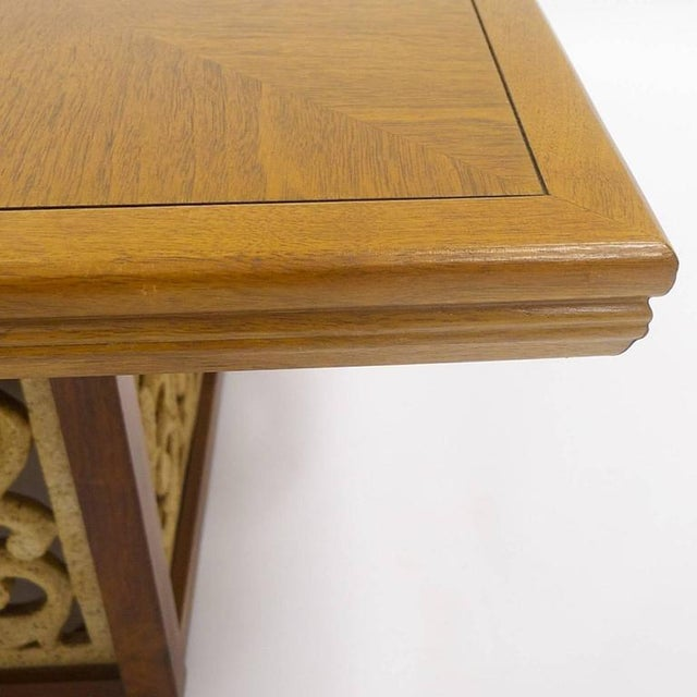 Mid-Century Modern Rare Widdicomb Walnut Coffee or Cocktail Table With Decorative Base For Sale - Image 3 of 8