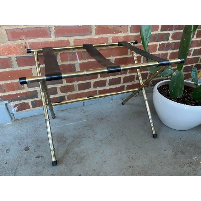 Mid-Century Modern 1970s Mid-Century Faux Bamboo Brass Luggage Rack. For Sale - Image 3 of 11