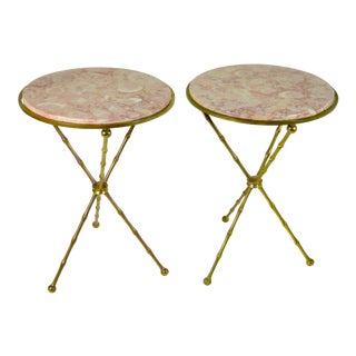 Pair of Brass Faux Bamboo and Marble Gueridon