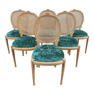 1970s Faux Bois and Cane Upholstered Chairs - Set of 6
