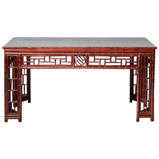 Antique Chinese Chippendale Bamboo Altar Table/Console For Sale - Image 13 of 13