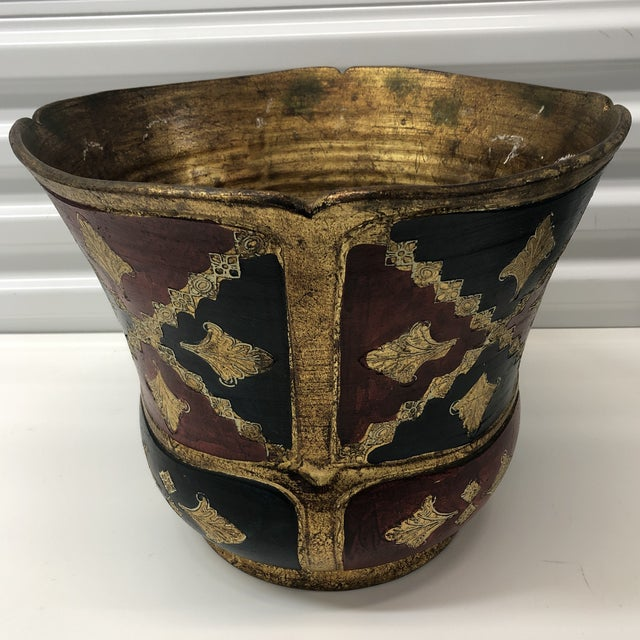 Large vintage Florentine terracotta hand painted planter. Red, blue and gold pot. (Jardinière) Footed base and finished...