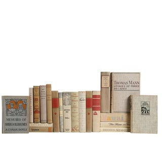 World Classic Vintage Books in Neutral - Set of 20