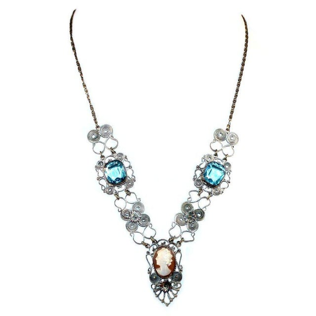 1930s 1930s Vintage Silver-Plated Filigree Cameo Necklace For Sale - Image 5 of 5